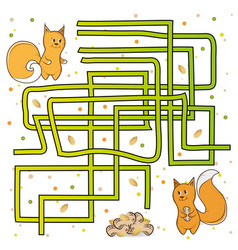 maze find a path for squirrels vector image