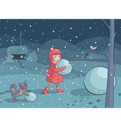 Girl and cat making snowman in the evening vector