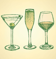 Sketch martini champagne and wine glass vector