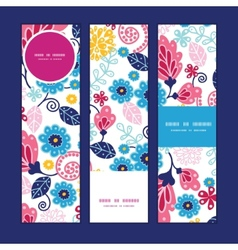 Fairytale flowers vertical banners set vector