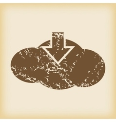 Grungy cloud download icon vector