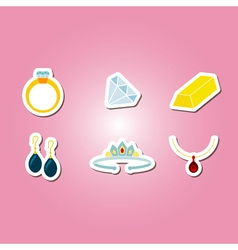 Color set with jewelry icons vector