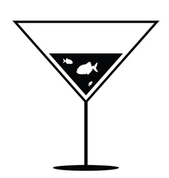 Fish in martini black and white vector