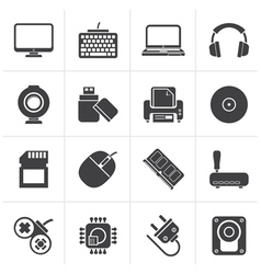 Black computer peripherals and accessories icons vector