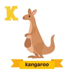 Kangaroo k letter cute children animal alphabet in vector
