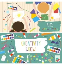 Kids Art-working process Kids creativity vector image