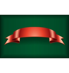 Red ribbon satin banner green vector