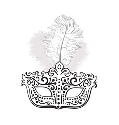 Beautifully decorated venetian carnival mask with vector