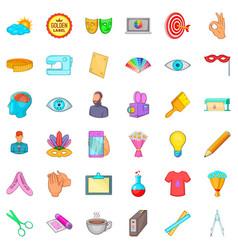 brushing icons set cartoon style vector image vector image