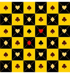 Card Suits Yellow Black Chess Board Diamond vector image vector image