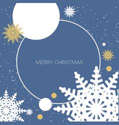 christmas round frame on dark background vector image