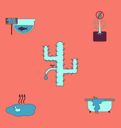Collection of icons and water scarcity vector