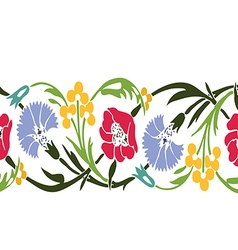 Colorful vintage wildflowers border floral vector image vector image