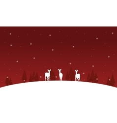Deer on the hill christmas winter of silhouettes vector