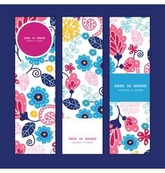 Fairytale flowers vertical banners set vector