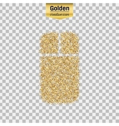 Gold glitter icon of mouse isolated on vector