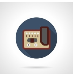 Guitar stompbox flat color round icon vector image vector image