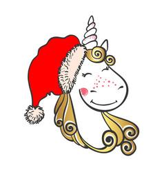 Hand drawn cute magic unicorn in santa hat vector