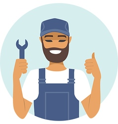 Handyman character thumbs up vector