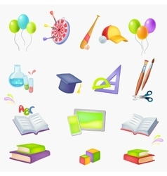 icons School theme vector image vector image