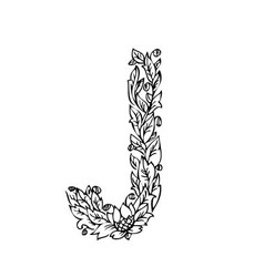 letters floral j vector image vector image