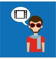Man hipster concept movie cinema film strip icon vector