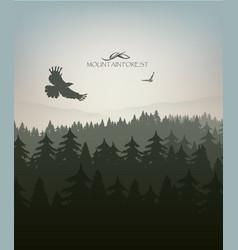 Mountain forest in fog and eagle vector