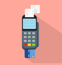 Pos terminal in flat styleconcept of cashless vector