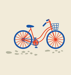 Retro bicycle with bin on the front wheel vector