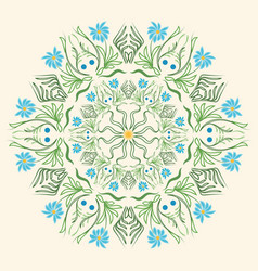 Round floral ornament mandala indian style summer vector