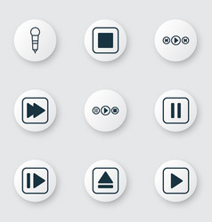 Set of 9 audio icons includes microphone song ui vector
