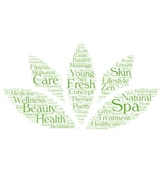 Spa word cloud in a shape of lotus vector image