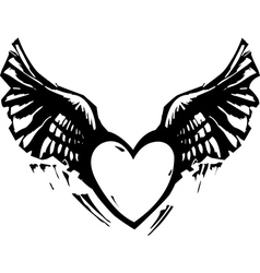 Winged Heart Black White vector image vector image