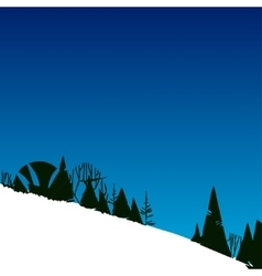 With forest in mountains on hill vector