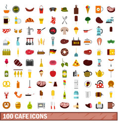 100 cafe icons set flat style vector