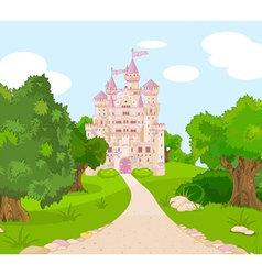 Castle on hill vector