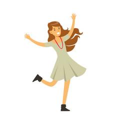 Cute girl in grey dress dancing on dancefloor vector