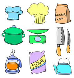 doodle of kitchen object various vector image