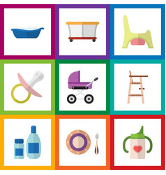 Flat kid set of bathtub child chair playground vector