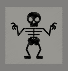 flat shading style icon halloween skeleton vector image