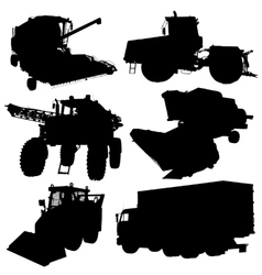 Agricultural vehicles silhouettes set vector image