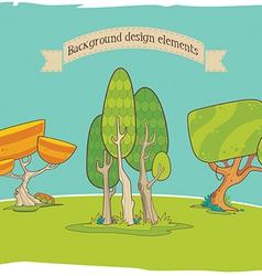 Stylized background design elements trees vector image