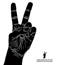Numbers hand signs set number two detailed black vector