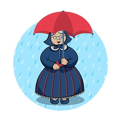 Old lady with red umbrella vector