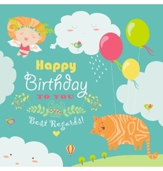 Happy birthday card with cute cat and angel vector