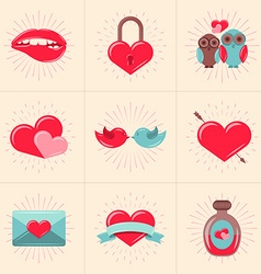 Set of St Valentines Day Design Elements Love vector image