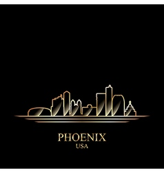 Gold silhouette of phoenix on black background vector