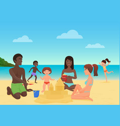 Adults and children making sandcastles and having vector