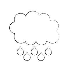 cartoon cloud droped rain weather vector image