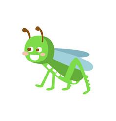 Cartoon smiling grasshopper colorful character vector